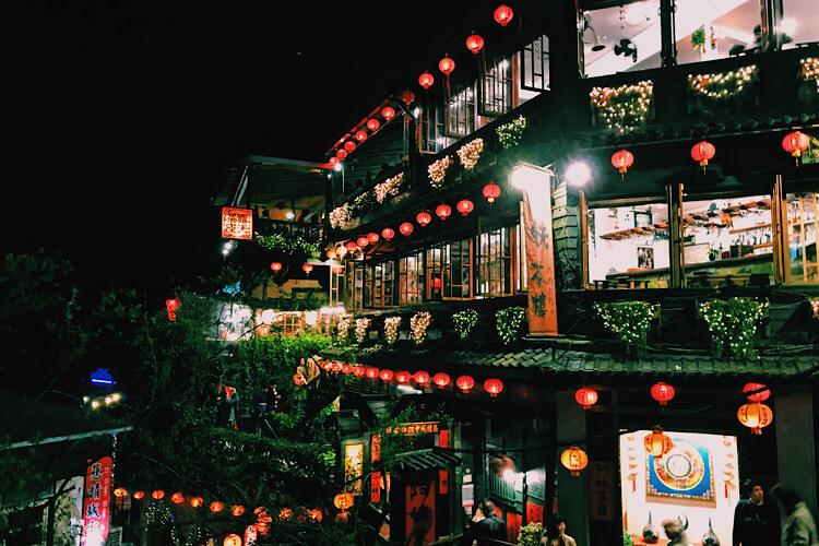 台湾にある九份の夜景の写真