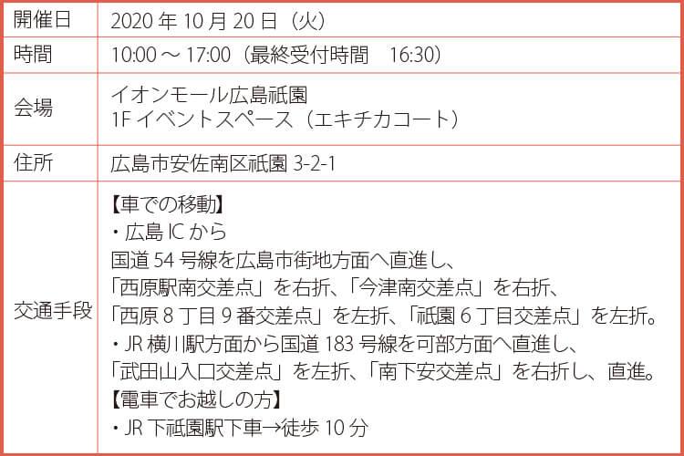 2020年10月20日(火)女性のための広島適職フェア